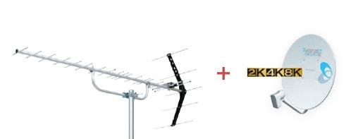 地デジ八木式アンテナ + BSアンテナ工事 スカパーアンテナ工事 4K・8Kアンテナ工事